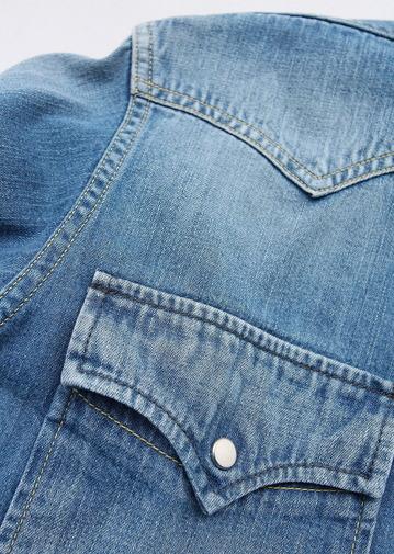 FOB  Vintage Washed Denim Western Shirt (4)