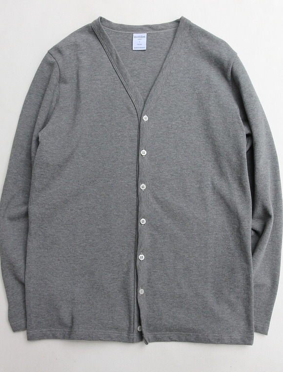 Quotidien Cotton Pique V Neck Cardigan GREY