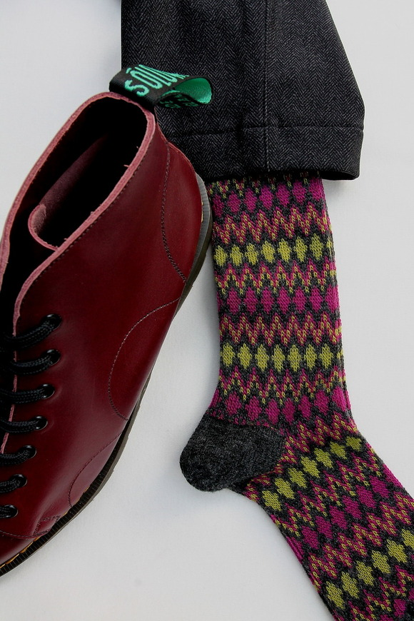HALISON Mix Lamb Wool Zig Zag Dia Socks GREY