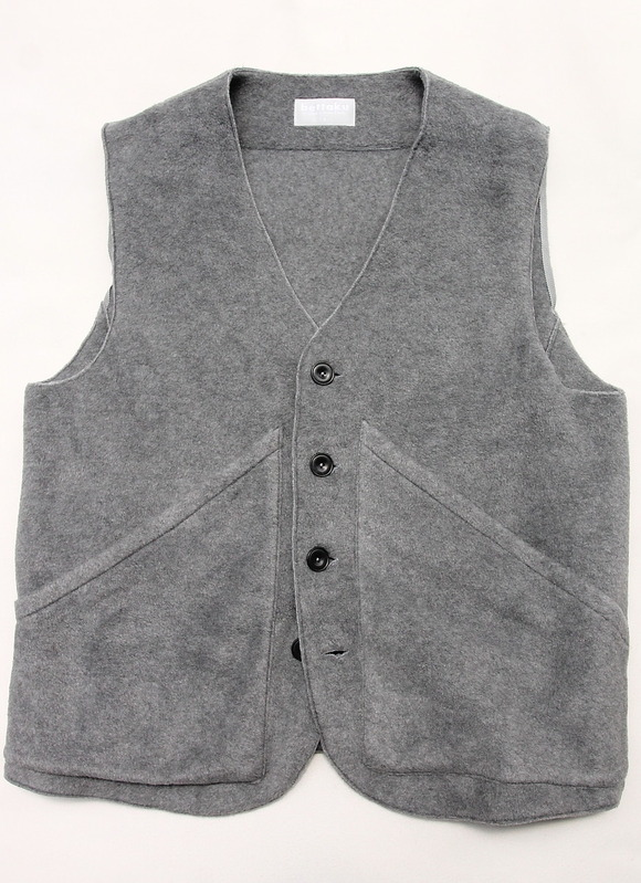 bettaku roof pocket fleece vest GREY