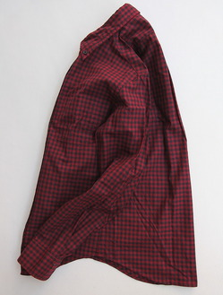 Your Uniform Gingham BD Shirt Elbow Patch RED X NAVY (2)
