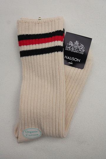 HALISON Organic Cotton IVY Crew Socks NAVY X RED (2)