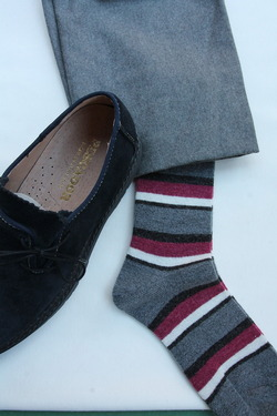 HALISON Doralon Multi Border Socks GREY