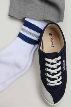 STRIP Crew Socks 9-11 NAVY & GREY
