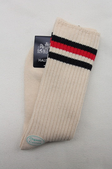 HALISON Organic Cotton IVY Crew Socks NAVY X RED (3)
