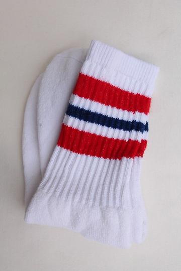 STRIP Crew Socks 9-11 RED & NAVY (2)