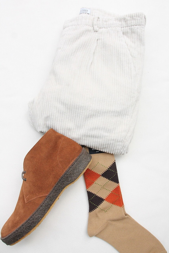 HALISON Dralon Cotton Argyle Socks BEIGE