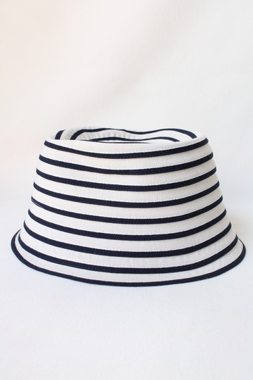 ARMEN Small Brim Tape Hat Navy x White (2)