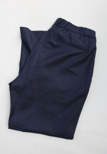 CESTERS Wool Herringbone  No Pleats Easy Trousers NAVY