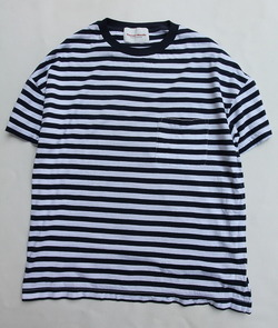 Vincent et Mireille Jersey Striped Big T Shirt WHITE NAVY