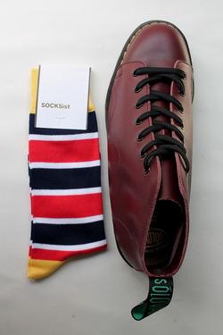 SOCKsist Socks YELLOW NAVY WHITE RED
