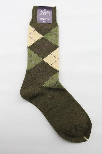 Mix Tasmania Lamb Wool Argyle Socks GREEN (3)