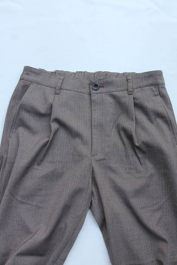 Harriss CARREMAN Stretch Heringbone 1P Tapered Pants BROWN (2)
