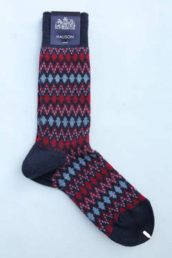 HALISON Mix Lamb Wool Zig Zag Dia Socks NAVY (2)