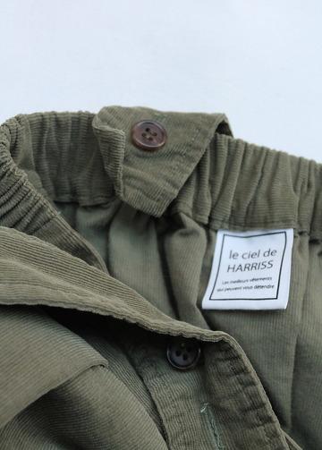Le ciel de Harriss Corduroy Suspenders Wrap Skirt OLIVE (2)