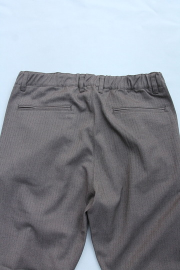 Harriss CARREMAN Stretch Heringbone 1P Tapered Pants BROWN (3)