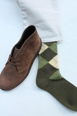 HALISON Mix Tasmania Lamb Wool Argyle Socks GREEN