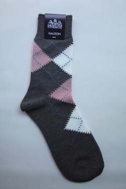 HALISON Dralon Cotton Argyle Short Socks GREY