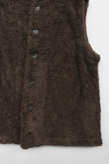 Le ciel de Harriss Boa Fleece Button Vest OLIVE (3)