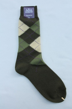HALISON Mix Tasmania Lamb Wool Argyle Socks GREEN (3)