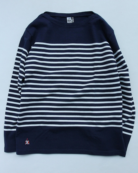 Chums LS Boat Neck Border Basque NAVY