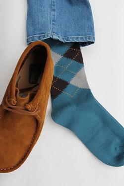 HALISON Dralon Cotton Argyle Socks BLUE