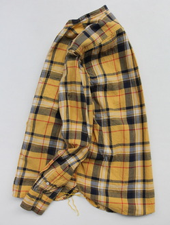 R & Vintage LS Band Collar Shirt Twill Check YELLOW (5)