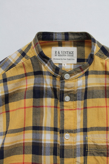 R & Vintage LS Band Collar Shirt Twill Check YELLOW (2)