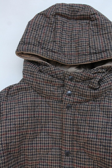 ARMEN Heat Quilt Reversible Hooded Jacket OLIVE Check X IRAQ (3)