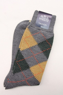 HALISON NZ Merino Argyle Socks 5 Diamond GREY (3)