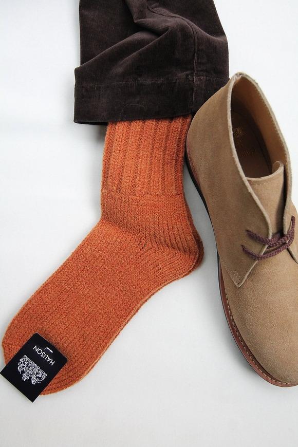 HALISON HW Rib Rug Socks ORANGE