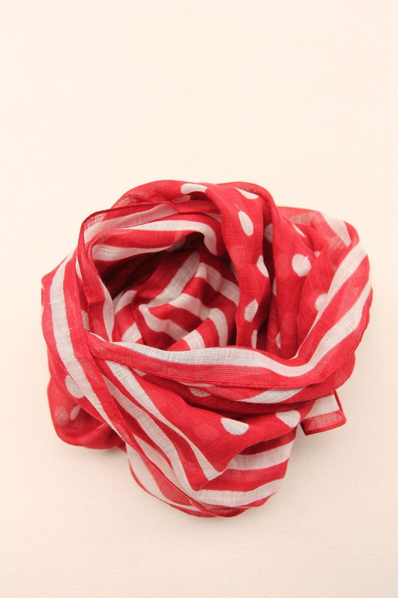 Vincenzo Miozza Cotton Linen Scarf RED 65cm x 65cm