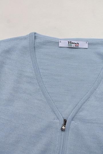 Vitter 2430 Zip Cardigan SAX BLUE (2)