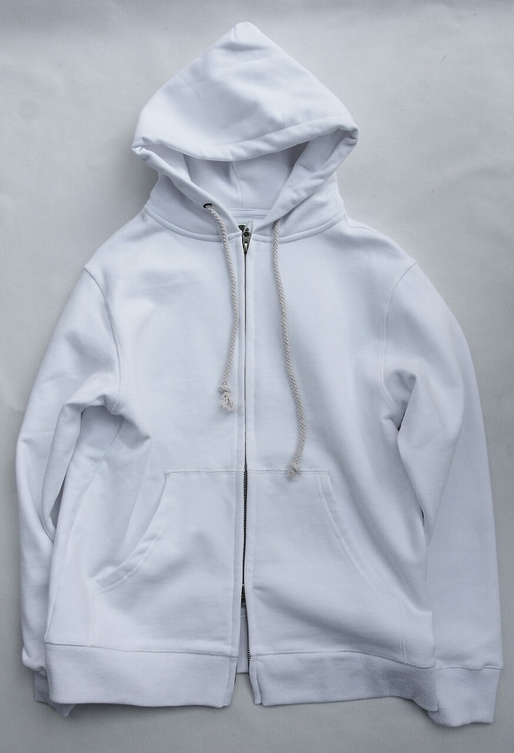 Arbre HW Cotton Fleece Zip up Sweat Parka WHITE