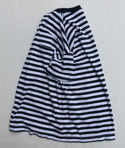 Vincent et Mireille Jersey Striped Big T Shirt WHITE NAVY (4)