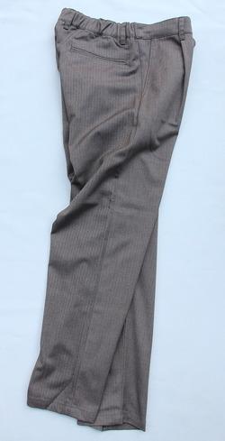 Harriss CARREMAN Stretch Heringbone 1P Tapered Pants BROWN (6)