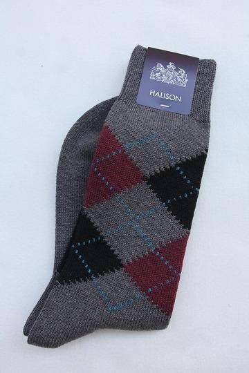 HALISON Dralon Cotton Argyle Socks GREY (2)