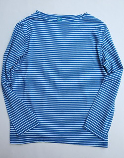 Goodon Border Boatneck LS Tee BLUE X WHITE