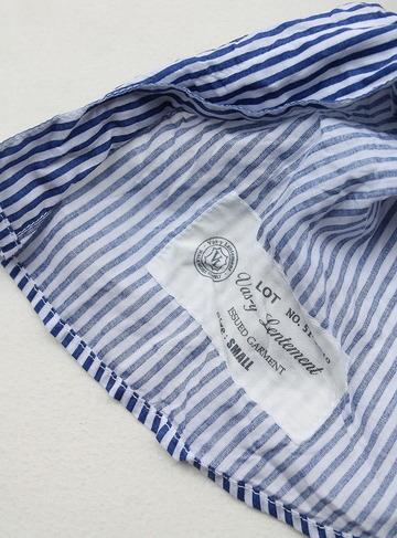Vasy Lentlement Regular CollarOversized Shirt BLUE Stripe (2)