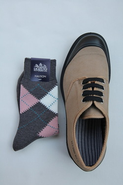 HALISON Dralon Cotton Argyle Short Socks GREY (4)