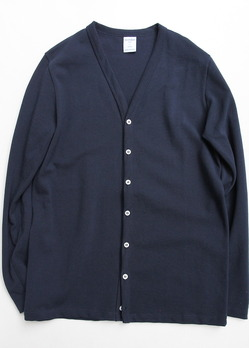 Quotidien Cotton Mesh Pique V Cardigan NAVY