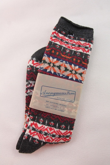 Anonymus ISM Cotton Fair Isle Crew CHARCOAL (2)