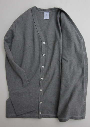 Quotidien Cotton Pique V Neck Cardigan HEATHER GREY (3)