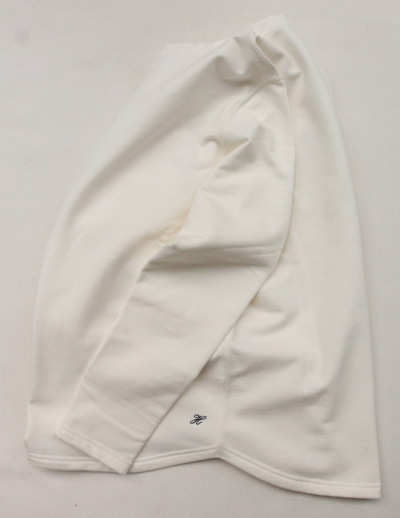 Harriss Cotton Bind Boat Neck SW Shirt NATURAL (4)