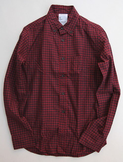 Your Uniform Gingham BD Shirt Elbow Patch RED X NAVY
