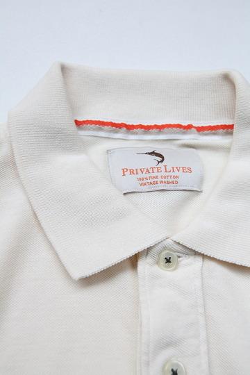 Praivate Lives Cotton Pique Polo Vintage Look ECRU (3)