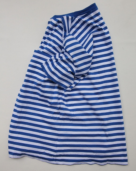 Vincent et Mireille Jersey Striped Big T Shihrt WHITE ROYAL (5)