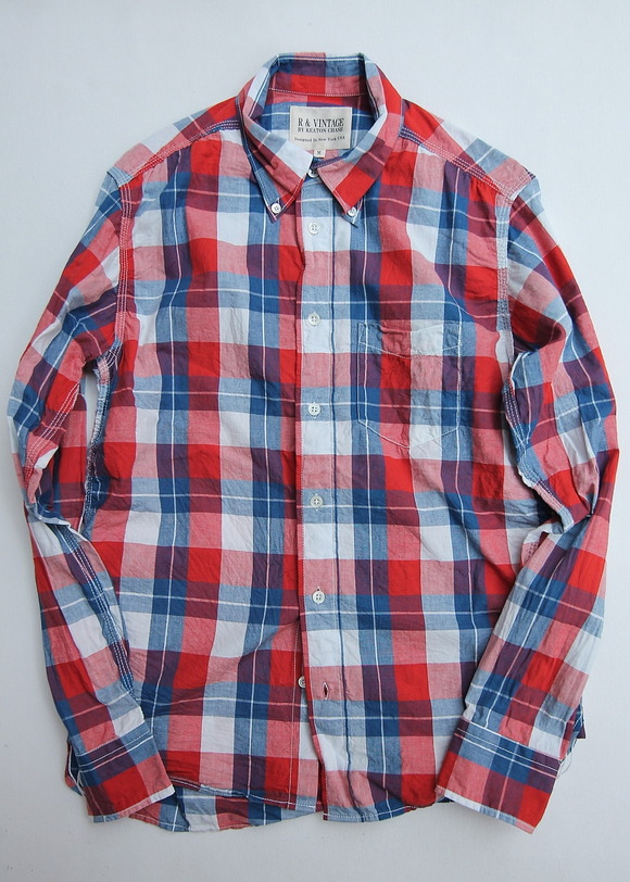R & Vintage LS Triple Needle BD Shirt Indigo Check Broad Cloth