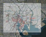 地図上に図面と写真