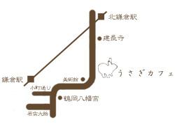うさぎカフェお店の地図です